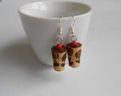 ROSES Woodburning earrings with Pure, Natural Cork - HandmadebyARGYRO