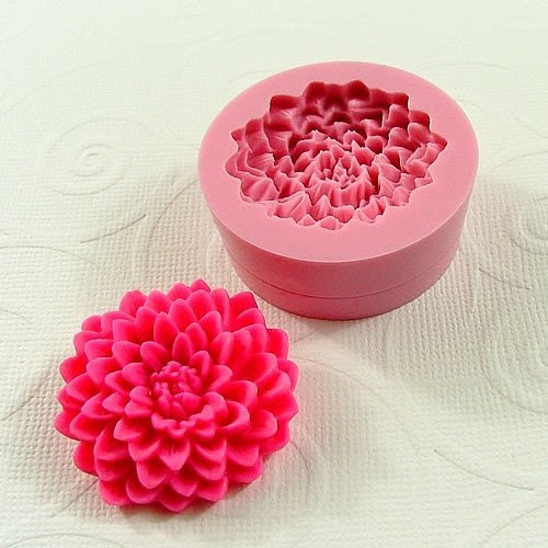 Chrysanthemum Cabochon Flexible Mini Mold/Mould (32mm) for Crafts, Jewelry, Scrapbooking, Sewing (resin,  pmc, polymer clay) (156)