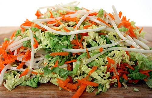 cabbage, carrots, bean sprouts