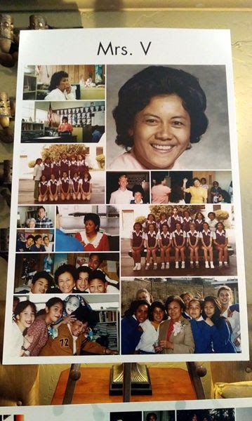 A collage showing photos of my 8th grade classmates posing with Mrs. Ventura (25 years ago) was displayed at the chapel where her funeral was held...on March 28, 2019.