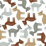 woodland pals fabric, woodland animals, woodland quilting theme, doe fabric, fawn fabric, outdoorsy fabric