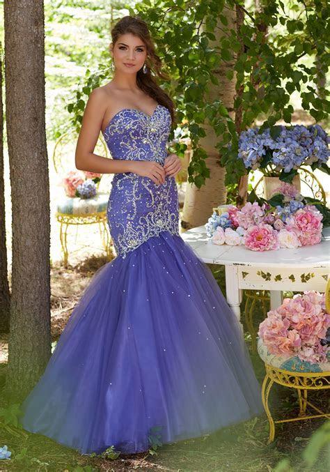 Inticately Beaded Tulle Mermaid Prom Dress   Style 99132