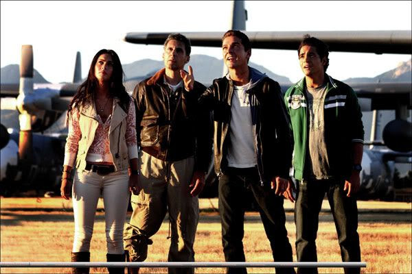 TRANSFORMERS 2 main cast: Megan Fox, John Torturro (Agent Simmons), Shia LaBeouf (Sam Witwicky) and Ramon Rodriguez (Leo).
