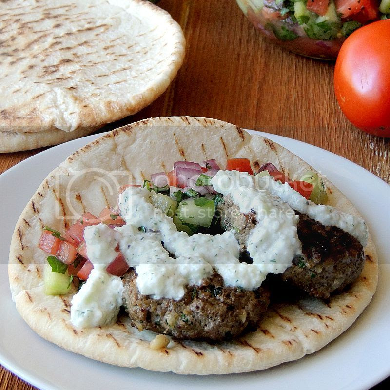 Beef Kofta with Tzatziki and Cucumber Tomato Relish