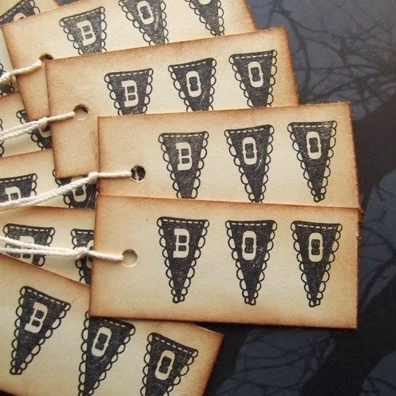 Bunting Halloween Hang Tags - BOO - Black, Cream, Vintage Inspired, Prestrung