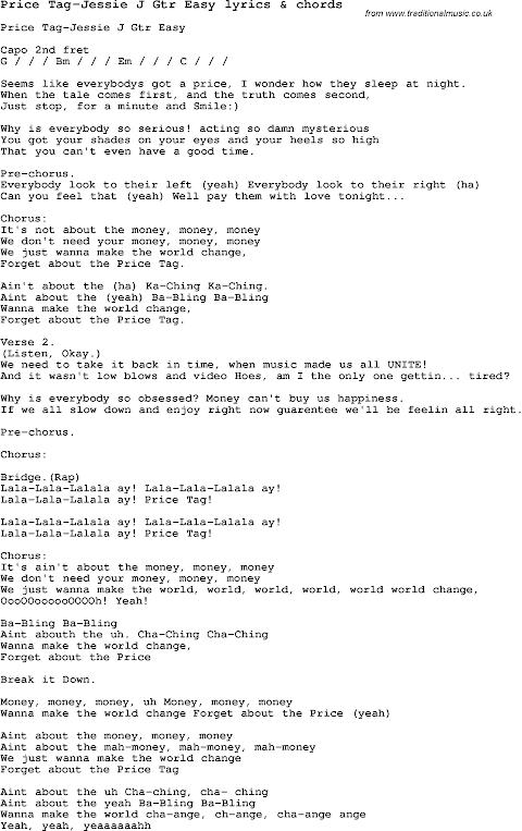 Jessie J Price Tag Lyrics Download