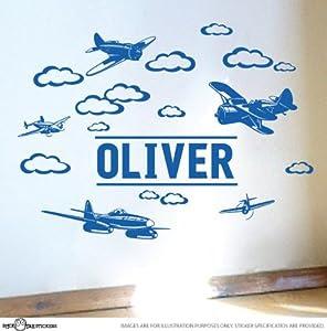 Amazon.com - Custom Name Plane Vinyl Wall Sticker for Boys ...