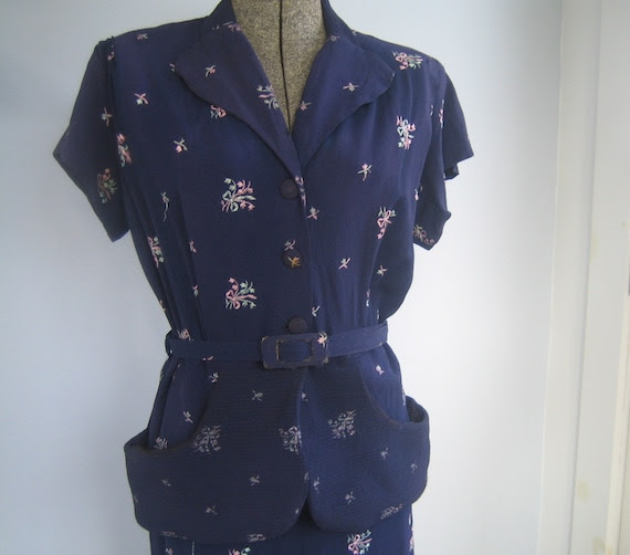 vintage 1940s MARTINI peplum dress