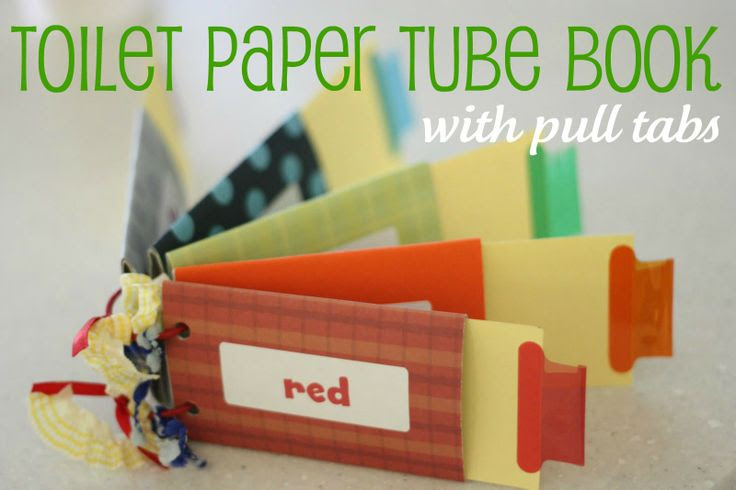 toilet paper book--The possibilities for this are endless, obviously.  Here it is used with colors and color tabs.  What about shapes?  Numbers?  This could be a learning resource as well as fun and simple craft.  An older sibling could make this for a younger one.  Perfect!