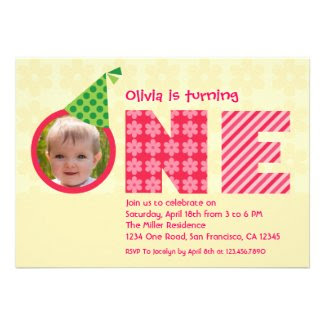 "First Birthday ""One"" Photo Invitation"