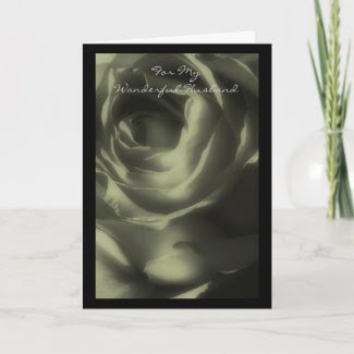 Valentine's Day Card, Husband, Deep Green Rose card