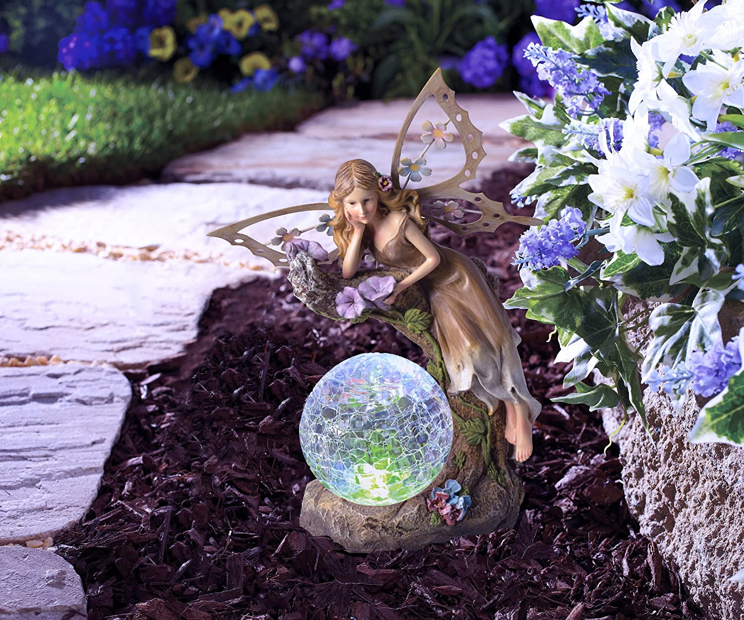 BRING SOLAR POWERED GARDEN FAIRY GLOWING GLOBES INTO YOUR GARDEN
