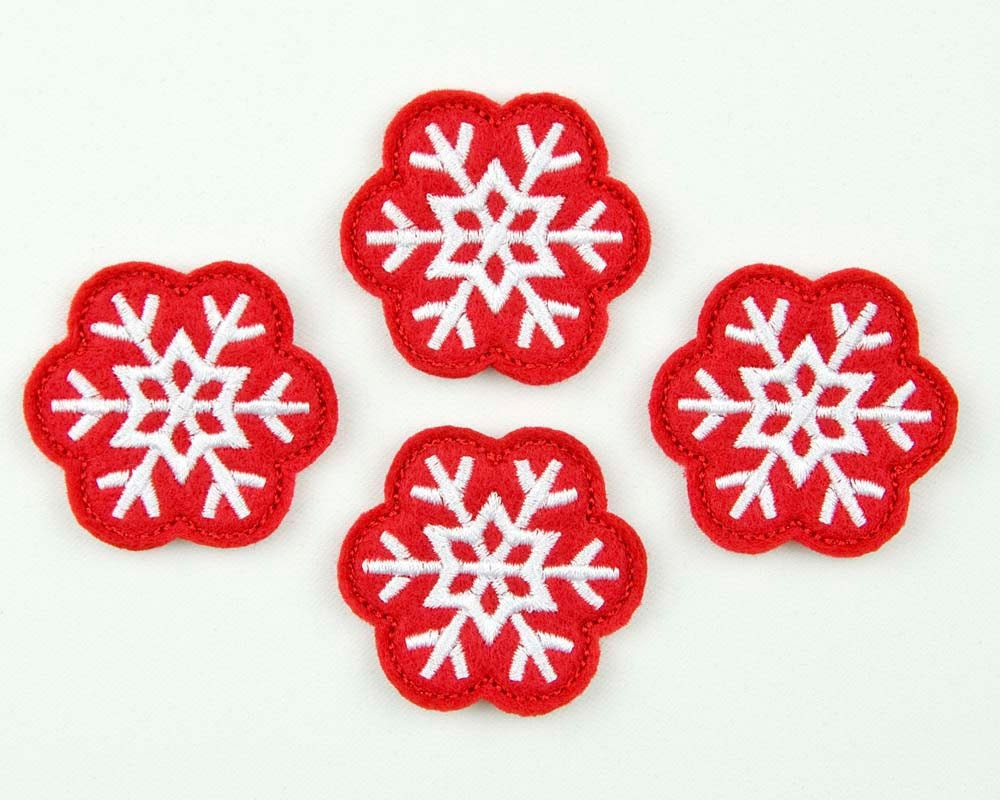 SNOWFLAKE - Embroidered Felt Embellishments / Appliques - Red & White (Qnty of 4) SCF4065 - sewcutefelt