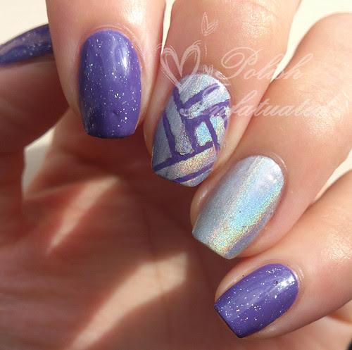 purple & holo skittle nail art