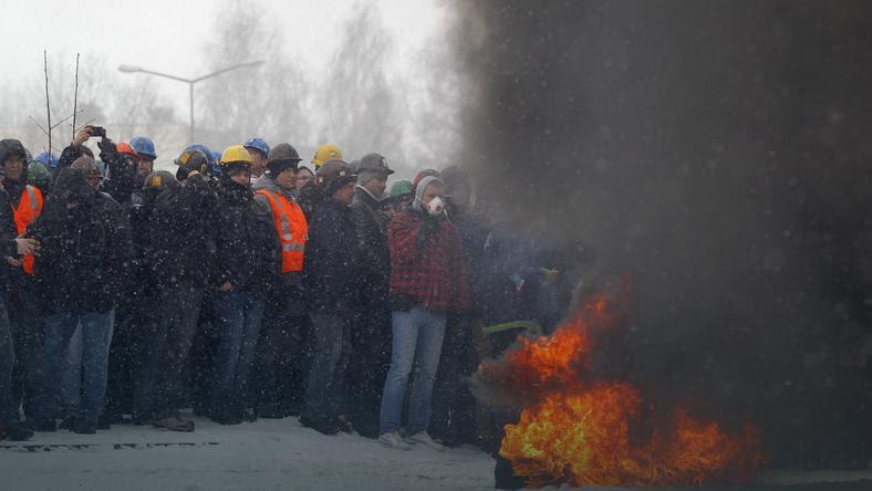 JASTRZĘBIE ZDRÓJ JSW PROTEST GÓRNIKÓW (protestujący górnicy)