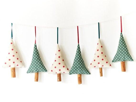 Set of 3 Handmade Christmas Decorations Rustic Green Polka Dot