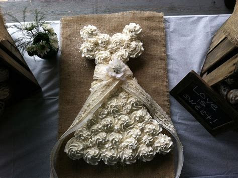 Cupcake Wedding Dress Cake   Bridal Shower   Burlap & Lace