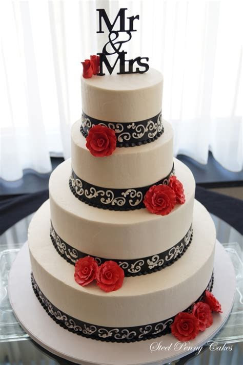Red, Black, And Ivory Wedding   CakeCentral.com