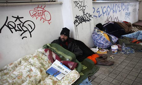 Greece homeless men in Athens