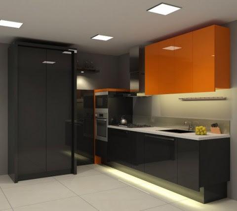 Modernas y sofisticadas cocinas en color naranja-15