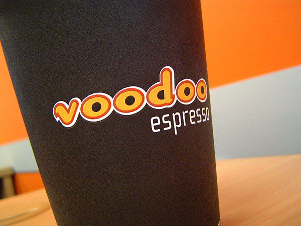 Espresso cup with Voodoo Espresso written on it