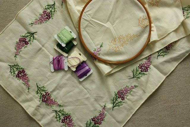 Lilac Dresser Scarf WIP