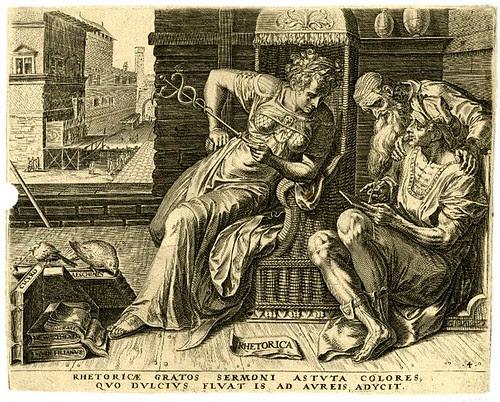 Rhetorica -- Rhetoricae gratos sermoni -  Cornelis Cort 1565 (Cock, Floris) (BM)