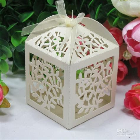 Laser Cut Favor Candy Gift Boxes With Ribbon For Wedding