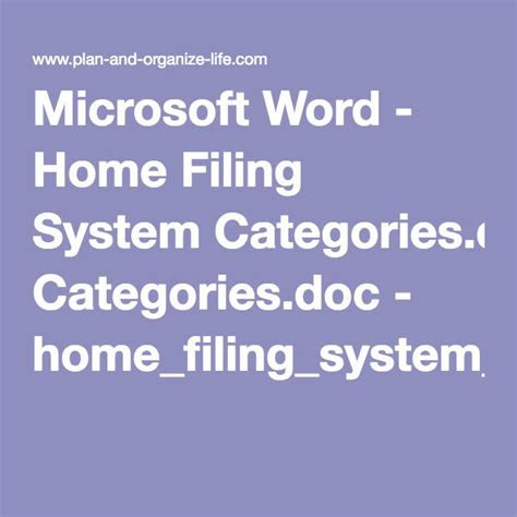 microsoft word home filing system categoriesdoc home