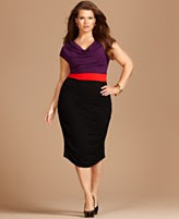 INC International Concepts Plus Size Dress, Cap Sleeve Colorblocked Cowlneck