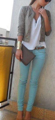 Turquoise, white,  grey