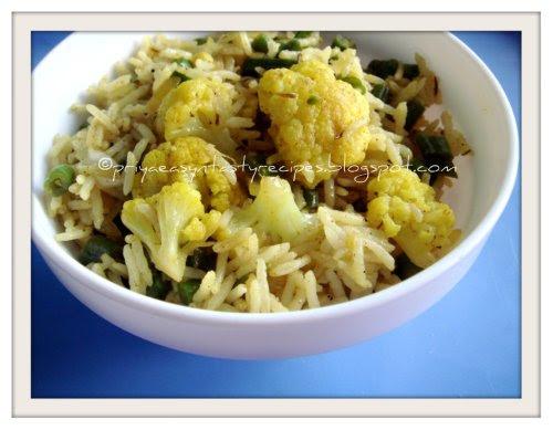 Cauliflower & green beans rice