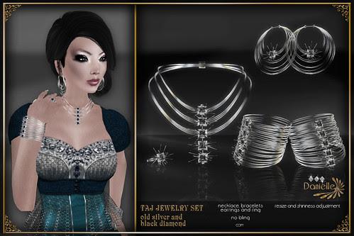DANIELLE Taj Jewelry Set Old Silver And Black Diamond