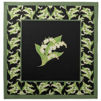 Set of Cloth Napkins Lilies of the Valley on Black
