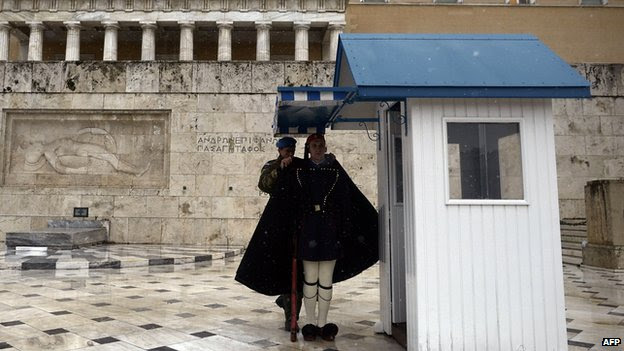 Snowfall outside Greek parliament, February 2015