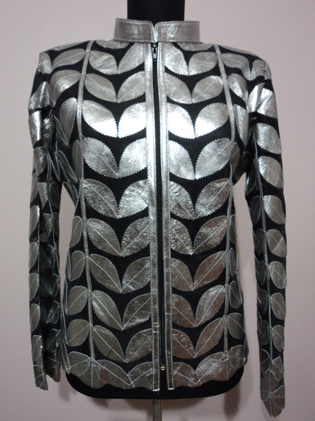 Shiny Silver Gray Leather Leaf Jacket for Women [ Click to See Photos ]