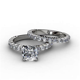 Shared Prong Diamond Engagement Ring & Matching Wedding