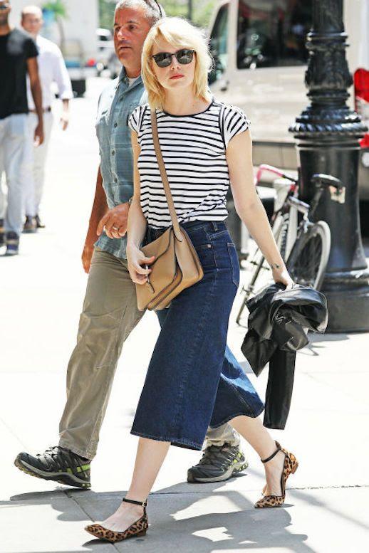 Le Fashion Blog Emma Stone Striped T Shirt Cropped Denim Leopard Flats Via Harpers Bazaar