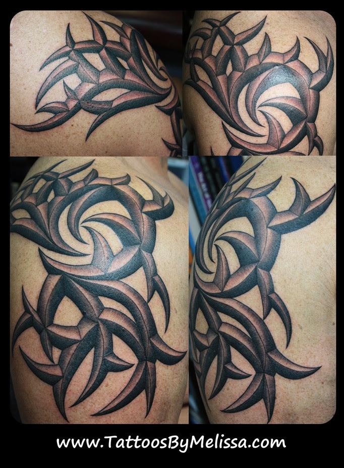 3D tribal arm and shoulder tattoo Artist:Melissa Capo www.TattoosByMelissa.com  Tattoos I Have