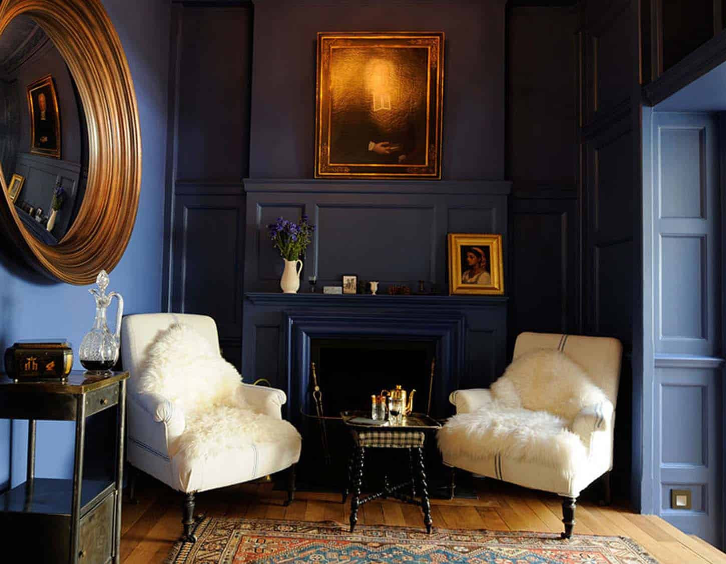 Moody Blue and Gold Interiors | Interior Design Trends ...