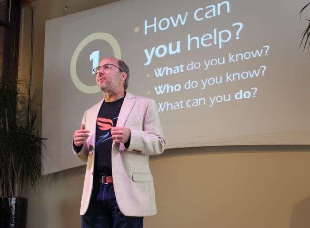 """Michael """"Luni"""" Libes, Fledge incubator founder, at Demo Day in June."""