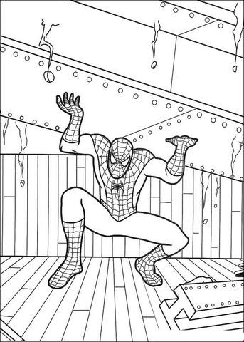 Dibujo De El Hombre Araña Levantando Una Viga Para Colorear