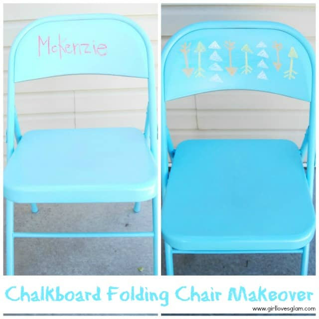 Chalkboard Folding Chair Makeover on www.girllovesglam.com! Never use a place card again! Write everyone's names on the chair they are sitting on! #diy #tutorial