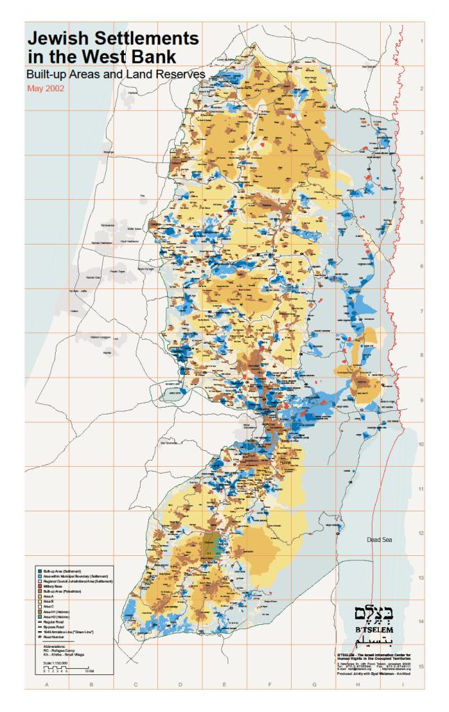Cisjordania: lo azul y celeste son las zonas ocupadas por las colonias ilegales o el ejército israelí