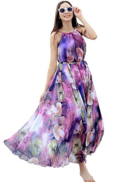 Purple Floral Long Beach Maxi Dress Lightweight Sundress