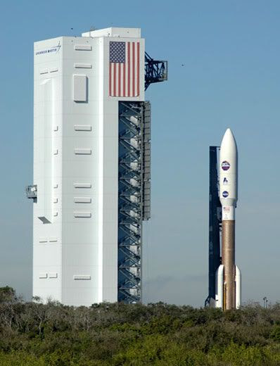 The Atlas V rocket carrying New Horizons departs from its vehicle assembly building and heads for Launch Complex 41.