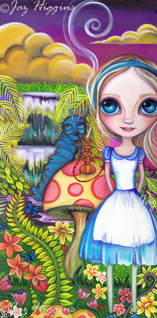 """Alice and Absolem"" Alice in Wonderland inspired Original Painting"