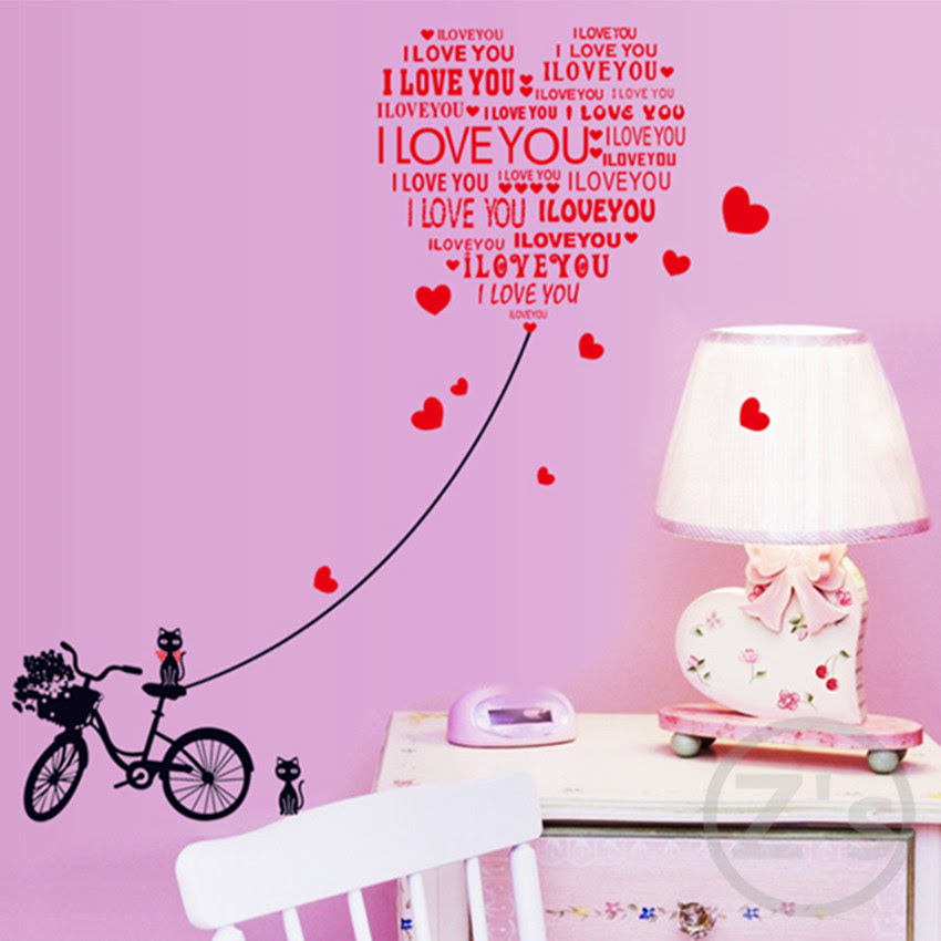i love you quotes wedding decoration wedding stickers wall sticker bicycle cat home decoration