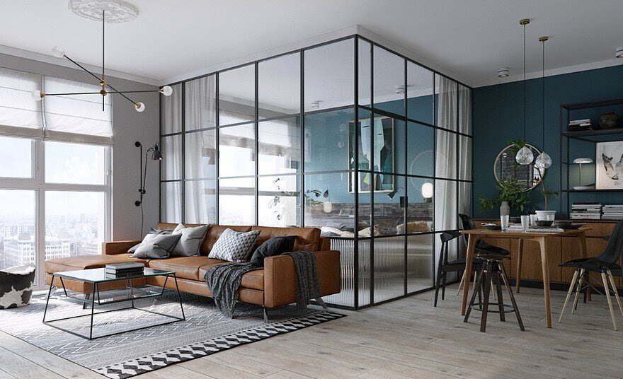 Dormitorio acristalado de estilo industrial