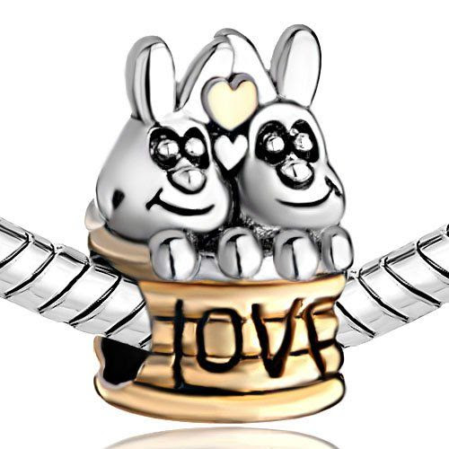 BESOTTED LOVE BUNNIES: Silver Plated Pugster Cute Double Rabbits Love European Animal Lover Beads Fit Pandora Charm Bracelet: Pugster: Jewelry
